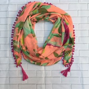 Tropical peach scarf wrap with parrot print